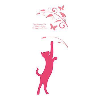 かわいい猫のステッカー風デザイン